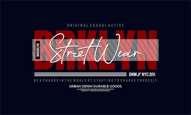 Brooklyn grafische typografie vector premium vector