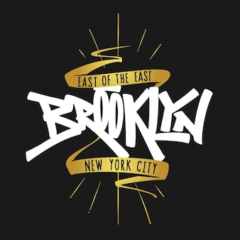 Brooklyn mew york belettering typografie, t-shirt graphics.
