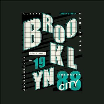 Brooklyn new york city gestreepte grafische typografie vector t-shirt ontwerp illustratie