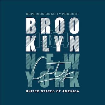 Brooklyn new york city gestreepte grafische typografiet-shirt in stedelijke stijl