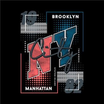 Brooklyn new york city tekst frame grafisch t-shirt ontwerp typografie vector