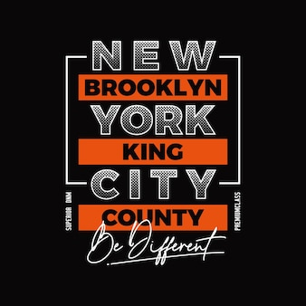 Brooklyn new york city typografie illustratie premium vector