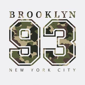 Brooklyn, new york. ontwerp kleding met camouflage, t-shirts. sportafbeeldingen met nummer om af te drukken. vector illustratie.