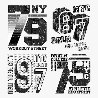 Brooklyn new york vintage t-shirt stempel set