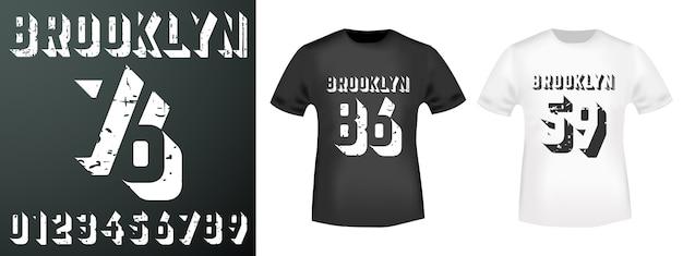 Brooklyn nummers stempel en t-shirt mockup