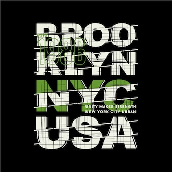 Brooklyn, nyc, v.s., gestreepte abstracte afbeelding met letters, typografieontwerp