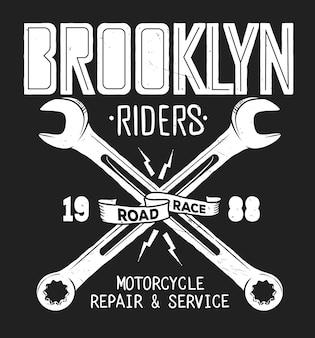 Brooklyn reparatie service vintage shirt print afbeeldingen.