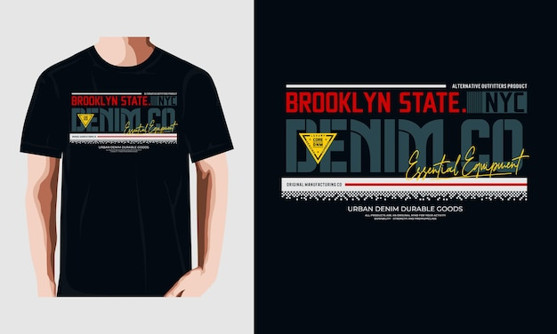 Brooklyn staat typografie t-shirt vector ontwerp illustratie premium vector premium vector