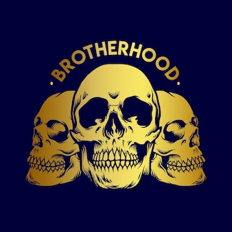 Brotherhood gold skull-illustraties