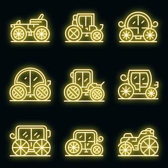 Brougham pictogrammen instellen. overzicht set van brougham vector iconen neon kleur op zwart