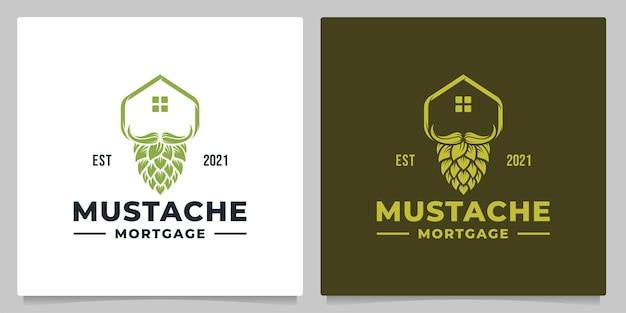 Brouwen dak vastgoed met snor vintage logo design
