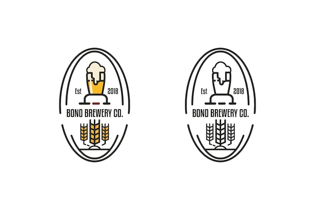 Brouwen stempel vector ronde embleem of vintage logo