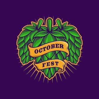 Brouwerij bier met oktober fest lint sjabloon vintage