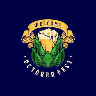 Brouwerij bierglas sjabloon illustraties