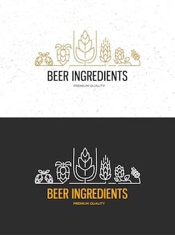 Brouwerij bierhuisetiketten met logo's van ambachtelijk bier, emblemen voor bierhuis, bar, pub, brouwerij, brouwerij, tavernes op de zwarte