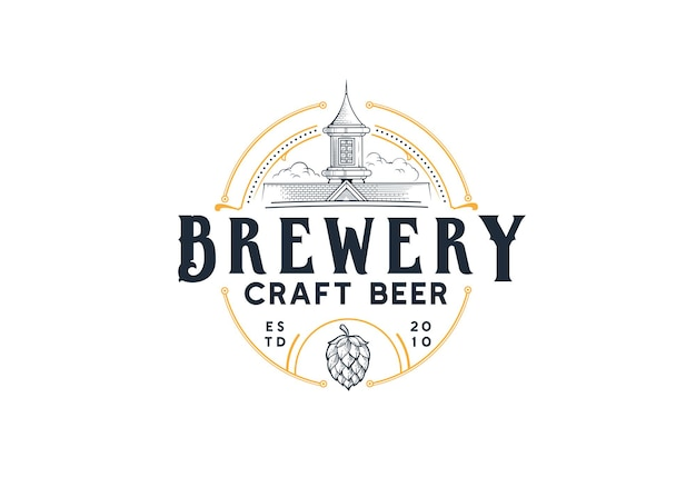 Brouwerij craft beer logo home illustration
