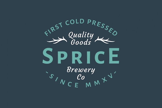 Brouwerij vintage logo - kwaliteitsgoederen - eerste koudgeperst