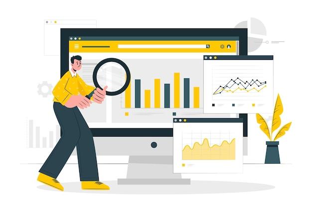Browser statistieken concept illustratie