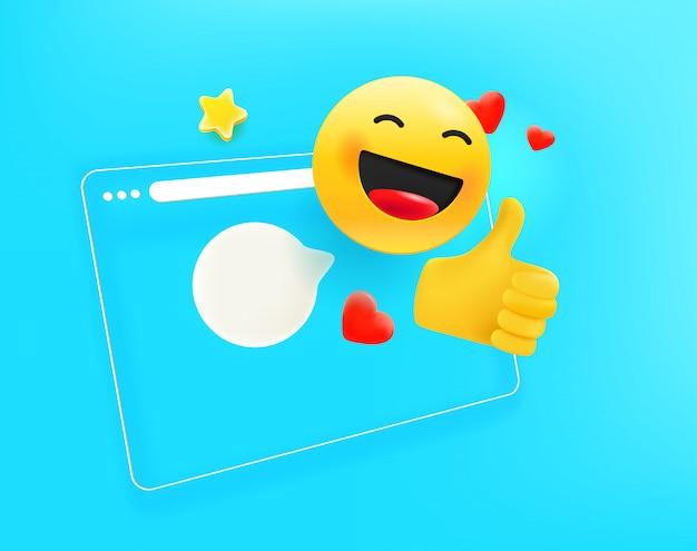 Browservenster met verschillende emoji. ik hou van het concept