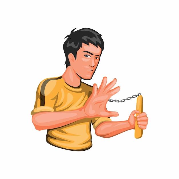 Bruce lee houdt nunchaku jeet kune do kungfu krijgskunst vechter karakter in cartoon