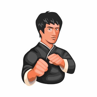 Bruce lee kungfu jeet kune do martial art figther character in cartoon illustration