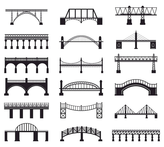 Brug constructie silhouet. rivier brug architectuur gebouw, brug vervoer rijbaan silhouet illustratie pictogrammen instellen. gebouwarchitectuur, spoorweg en voetganger