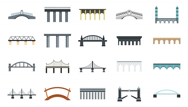 Brug pictogrammenset. platte set van brug vector iconen collectie geïsoleerd
