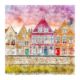 Brugge belgië aquarel schets hand getrokken illustratie
