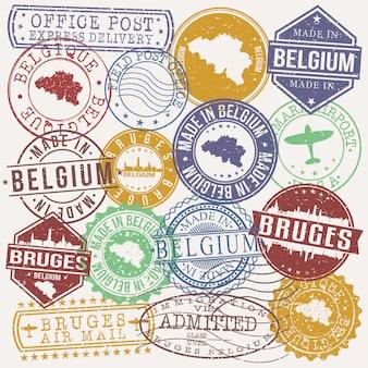 Brugge belgië set van reizen en zakelijke stempels