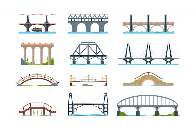Bruggen. houten ijzeren aquaduct met kolom moderne architectonische objecten overbruggen in vlakke stijl
