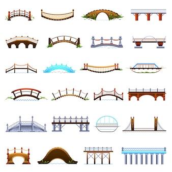 Bruggen pictogrammen instellen. cartoon set van bruggen vector iconen voor webdesign