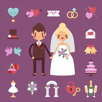 Bruid bruidegom bruiloft set.