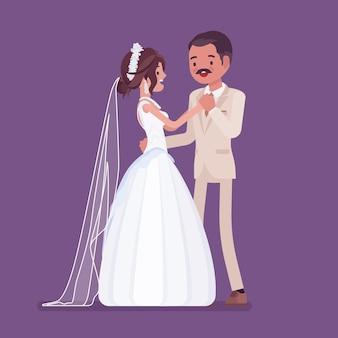 Bruid, bruidegom in een eerste dans op huwelijksceremonie