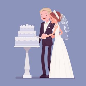 Bruid, bruidegom snijden taart op huwelijksceremonie