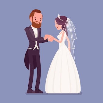 Bruid, bruidegom uitwisseling van trouwringen ceremonie