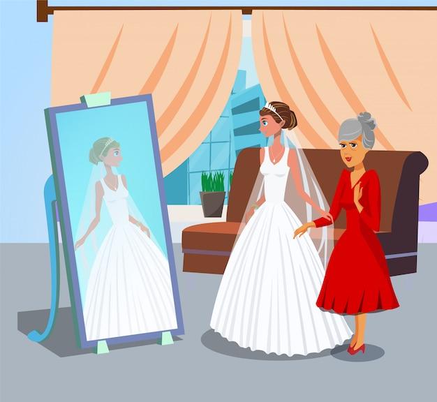 Bruid die in spiegel vlakke vectorillustratie kijken.