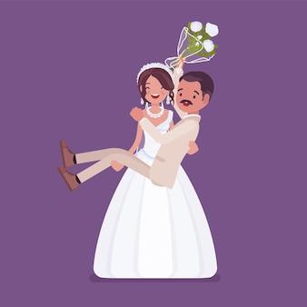 Bruid dragende bruidegom op huwelijksceremonie