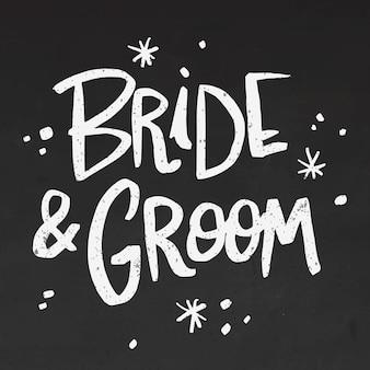 Bruid en bruidegom belettering op blackboard