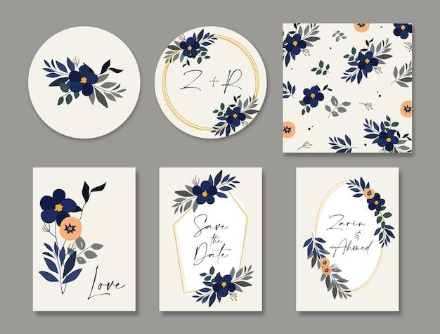 Bruid en bruidegom bloemen bruiloft uitnodigingskaart set en bewaar de datum kaartsjabloon