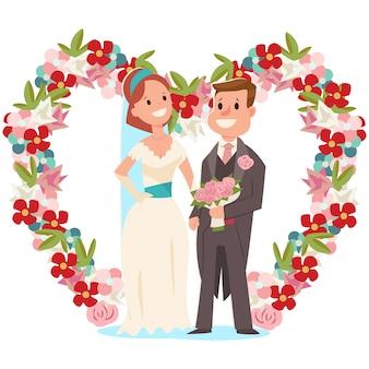 Bruid en bruidegom en een huwelijksboog met bloemen. vectorbeeldverhaalillustratie van een paar jonggehuwden met een geïsoleerd bruids boeket