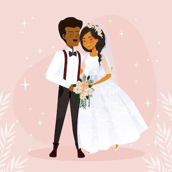 Bruid en bruidegom illustratie concept
