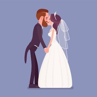 Bruid en bruidegom kussen op huwelijksceremonie