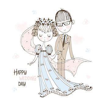 Bruid en bruidegom op de bruiloft.