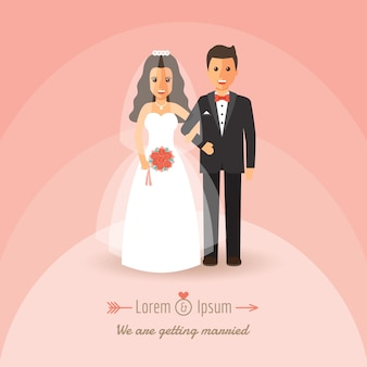 Bruid en bruidegom op huwelijksdag.