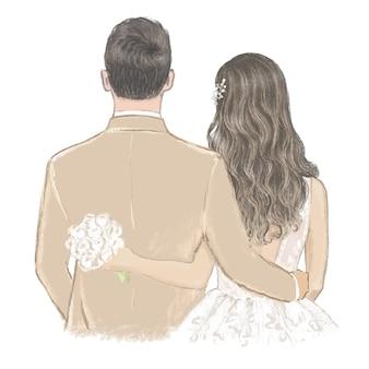 Bruid en bruidegom op trouwdag hand getekende illustratie