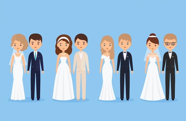 Bruid en bruidegom, stripfiguren. illustratie.