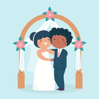 Bruid en bruidegom trouwen geïllustreerd
