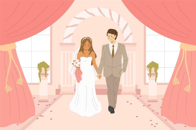 Bruid en bruidegom trouwen