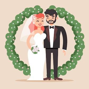 Bruid en bruidegomillustratieontwerp