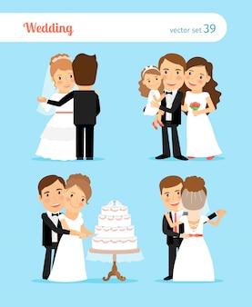 Bruid en bruidegomkarakters voor huwelijksuitnodiging